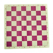 Marion's Pink & White Value Chess Set - Pink & White Vinyl Roll-up Board - Pink & White Pieces, Black Canvas Tube Bag by Marion & Co