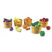 Learning Resources-5 Paniers En Pvc Incassable (Hauteur 10cm, Diamètre 14cm) Et 25 Fruits Et Légumes De 5 Couleurs Et Des Autoco