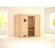 KARIBU Sauna Massivholzsauna SPARSET Oslo 1 Ganzglastür bronziert, inkl. 9kW Bio-Kombiofen ext. Steuerung