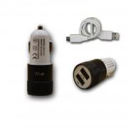 Chargeur Voiture Allume-Cigare Ultra Rapide Car Charger 2x Usb 2100ma + 1000ma (+Câble Offert) Noir Pour Asus Zenfone 3 Ultra Zu680kl