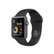 Apple Watch Series 2 con caja de aluminio gris espacial de 38 mm y correa deportiva negra
