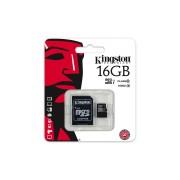 Card memorie micro SDHC cu adaptor SD 16 GB Class 10 Kingston SDC10G2/16GB