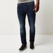 River Island Dylan - Slim-fit jeans in donkerblauwe wassing