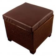 Bőrhatású ülőkés tároló, barna