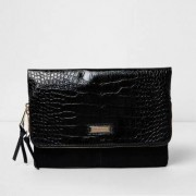 River Island Womens Black croc embossed flap foldover clutch bag