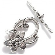 Shipwreck Beads Zinc Alloy Toggle Clasp Flower with Scrolls 20 by 30mm Silver 18-Pack