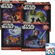 4-Pack Star Wars Jigsaw Puzzle Gift Set - 4 100-Piece Puzzles Featuring Darth Vader, Luke Skywalker, Yoda, Princess Leia, Han Solo, R2-D2 (10.4 in x 9.12 in) Plus Marvel Stickers by Disney