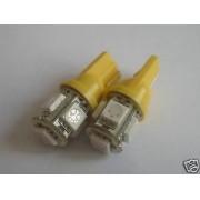 2pz LAMPADINE 5 LED AMBRA PER LUCI FRECCE T10 W5W BA