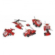 399 Piece Red Battery (not included) Powered 5-in-1 Creative Building Blocks Set - Build a Robot Helicopter Airplane