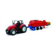 NEWRAY 05685A - Farm Tractor Scala 1:32 Trattore Rosso con Imballatrice, Scala 1:32