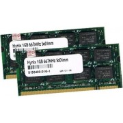 2 GB Dual Channel kit: originale HYNIX 2 x 1 GB 200 pin SO-DDR2-667 (PC2-5300, 667 mhz, CL5) double side (HYMP112S64CP8 - Y5) F? r attuale DDR2 pc - 100% compatibile con PC2-4200, 533 mhz, CL4