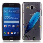 for Samsung Galaxy Grand Prime LTE G530 TPU Case HD Clear Screen Protector Shock Case Feather Blue