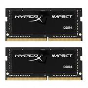 Kingston HX424S14IBK2/16 16Gb Kit 2X8Gb DDR 4 Pc 2400 Hyperx Impact Scheda di Memoria, Nero