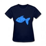 lastheart Happy azul peces de manga corta camiseta de la mujer