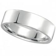 14k White Gold Wedding Band Plain Ring Flat Comfort-Fit (7 mm)
