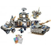 Brictek 15018 Desert Base And Tank 753pc Building Blocks Set (Compatible With Legos) With Activity Book