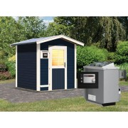 KARIBU Saunahaus Lasse opalgrau inkl. 9 kW Saunaofen ext. Steuerung
