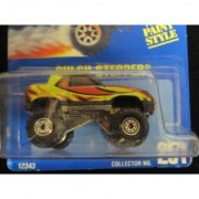 Gulch Stepper 1995 Hot Wheels #251 Black with Black Construction Wheels on Solid Blue Card