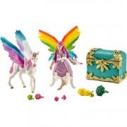 Regenboog elf Lis met Pegasus eenhoorn veulen