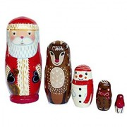Santa Nesting Dolls 5.5 - Set of 5 Wooden Russian Nesting Dolls - Matryoshka Stacking Nested Wood Dolls