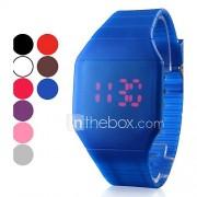 Heren Polshorloge Digitaal LED Aanraakscherm Kalender Silicone Band Zwart Wit Blauw Rood Bruin Grijs Roze Paars rozeRoos Bruin Rood Blauw