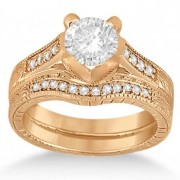 Antique Style Engagement Ring and Matching Wedding Band in 14k Rose Gold