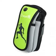 CrazyFire® - Brazalete para el teléfono móvil, ideal para practicar deportes en exteriores, ajustable, para smartphone, iPod, Mp3, Mp4, con cierre de cremallera