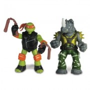 Figurine Tortues Ninja : 2 Figurines À Fonction : Michelangelo Vs. Rocksteady