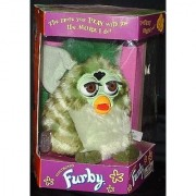 Original Electronic FURBY GRAY WITH BLACK SPOTS AND PINK TUMMY PINK INNER EARS (1998 Tiger Electronics)