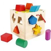 SainSmart Jr. CB-26 13 Holes Wooden Shape Sorter Geometric Sorting Box Cognitive Matching Wooden Blocks Shape Color Recognition