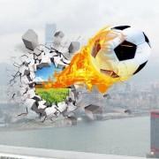 rosegal Football On Fire Vinyl Decals 3D Wall Sticker Sports