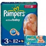 Scutece Pampers 3 Active Baby 4-9kg (82)buc+Servetele Baby Fresh 64buc