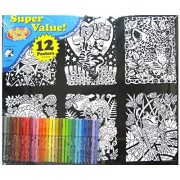 Velvet Fun Coloring Art 12 Pack With Markers ~ Love Is All We Need (Solar Beauty, Kitten Love, Jaguar, Garden Pup, Fairy Ladybug Chat, Frog With Butterflies, Unicorn Play, Mouse Courtship, Dinosaurs, Mystical Dragons, Cats In Wreath, Knight With Princess)