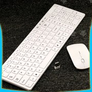 Tech Gear 2.4Ghz Slim Thin White Wireless Keyboard With Mouse Combo For Apple Mac PC