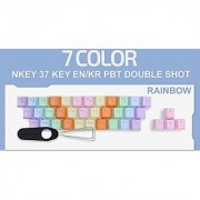 Sky Digital NKEY 37 Key PBT Double Shot Double Keycap EN/KR for Mechanical Keyboard (Cherry MX Kailh Switch) Rainbow Color