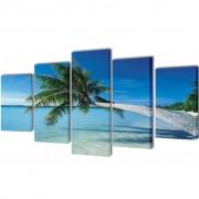 vidaXL Декоративни панели за стена Плаж с палмово дърво, 100 x 50 см