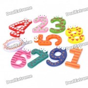 Colorful 0-9 Arabic Numbers Wooden Fridge Magnet Toys (10-Piece Pack)
