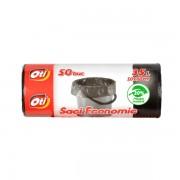 Saci menaj, 35L, 50 buc/rola, 50x60 cm, negru, OTI Economic