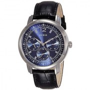 GUESS Black Leather Round Dial Quartz Watch For Men (W0790G2)