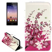 Cherry Blossom Pattern Horizontal Flip Leather Case with Holder & Card Slots for Huawei Ascend G7