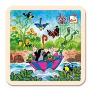Kisvakond esernyővel - 4 db-os kis fa puzzle