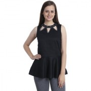 INSPIRE WORLD Women's 100 Pure Cotton Linen Satin Peplum Top In Black Color With Skin Friendly Lining And Crystal Neck Line (IWT0072016S)