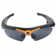Lunettes de soleil 2 en 1 Sports + caméra de 1,3 mégapixels, objectif grand angle 70 degrés, support TF (Orange)