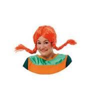peluca de pipi naranja con coletas y con trenzas | pelicula