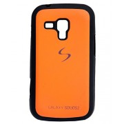 iCandy™ Premium Quality Black Boarder Leather Finish Soft Back Cover For Samsung Galaxy S Duos S7562 / S Duos 2 S7582 - Orange