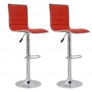 vidaXL Barová židle s vysokým opěradlem červená kůže (set 2 kusů)