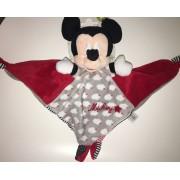 Doudou Souri Smickey Mouse Disney Baby Rouge Gris Noir Nuages Rayures Peluche Naissance Bebe Nicotoy Simba Toys Benelux Plush Comforter