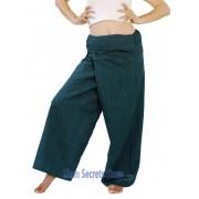 Thai Fisherman Pants Unisex Green Real Cotton Wrap Yoga Trousers