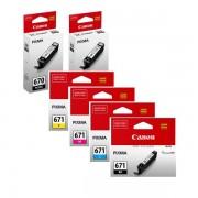 6 Pack Genuine Canon PGI-670, CLI-671 Ink Combo [2BK,1PBK,1C,1M,1Y]