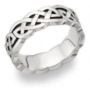 Carys Celtic Knot Wedding Band 14K White Gold